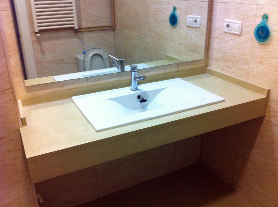Encimera ba o microcemento for Encimeras de bano para lavabo