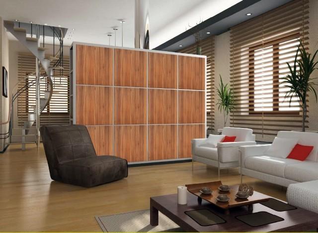 Foto millionaire wall separador ambientes color nogal - Como hacer un separador de ambientes ...