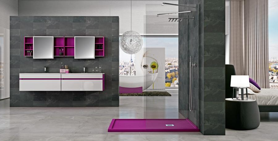Foto modelo de ba o con plato de ducha moderno de innova for Modelos de duchas