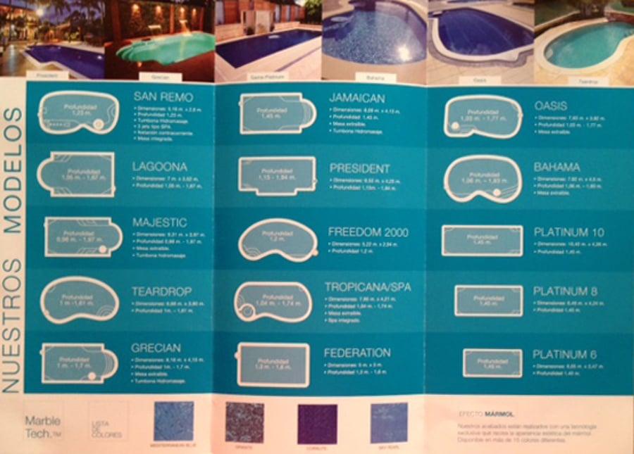 Modelos de piscinas de poliéster