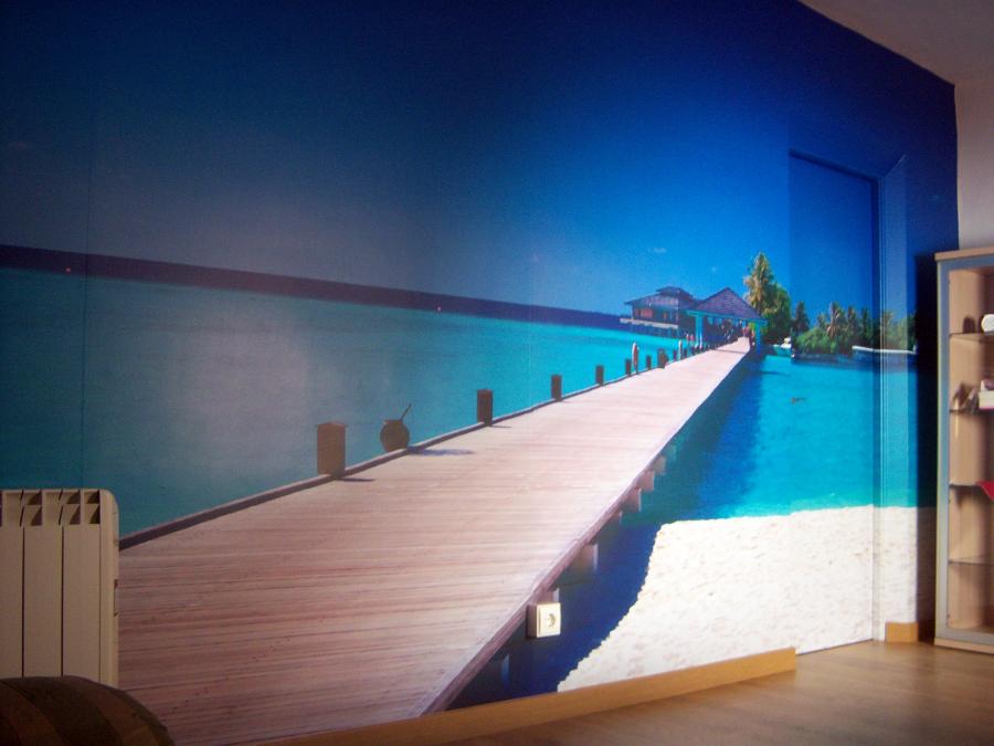 Foto mural de vinilo en sal n de decoraciones siglo xxi for Murales salon modernos