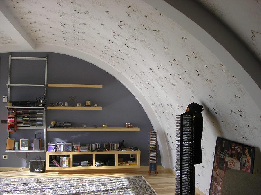 Sala de estar con cubierta curva