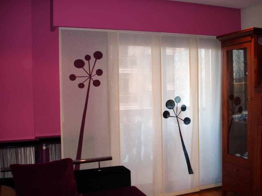 Foto panel japones de cortinas luis vizcaya 211343 for Cortinas salon marron