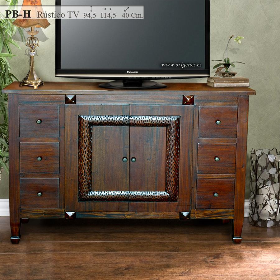 Foto pb h mueble r stico t v de muebles origenes 193013 for Mueble auxiliar rustico