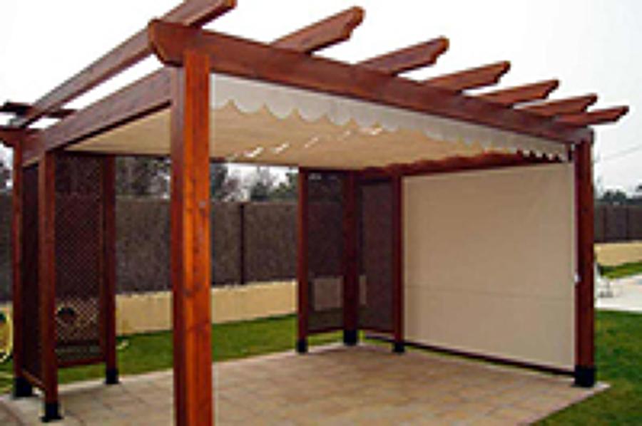 pergola con toldo palillera ideal para terraza o jardn - Pergolas Baratas Para Jardin
