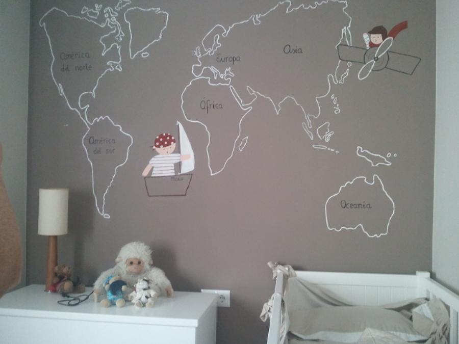 Foto pintura mural en dormitorio infantil de naranja - Pintura para dormitorios infantiles ...