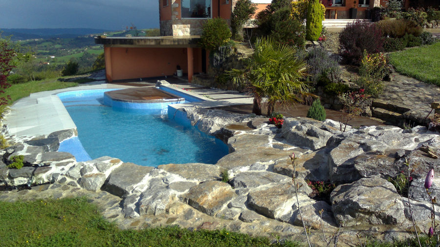 foto piscina naturalizada con cascada e infinity de