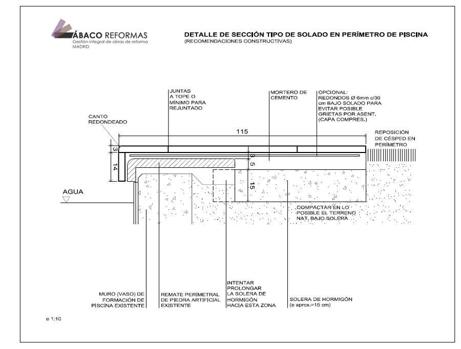 Foto plano de detalle de ejecuci n de solado en per metro for Detalle constructivo piscina
