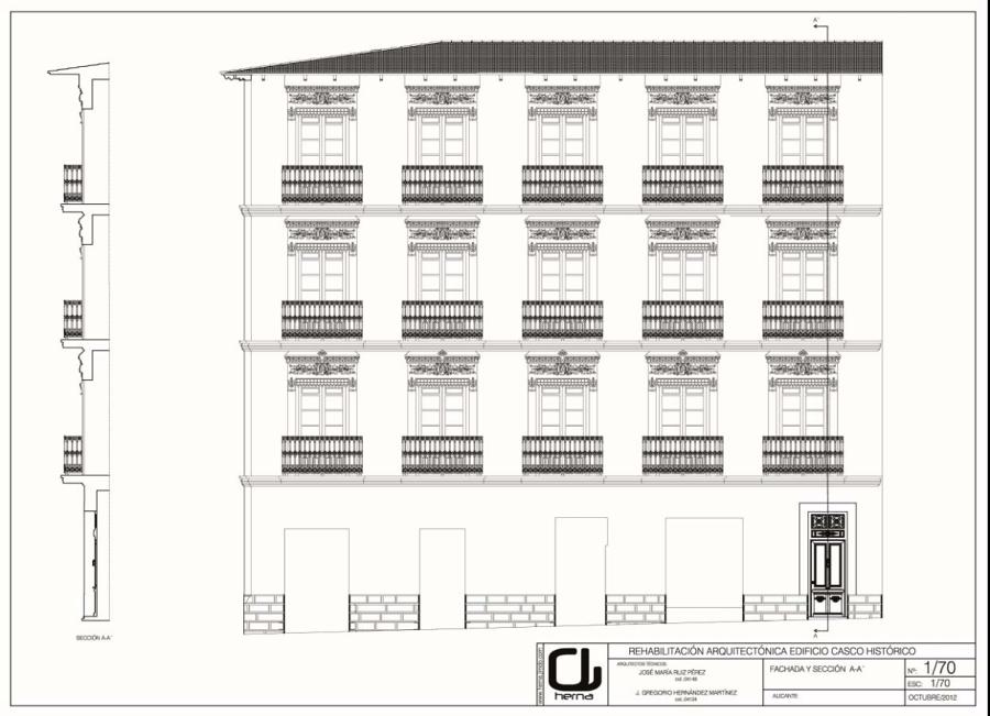 Plano fachada de edificio en Alicante