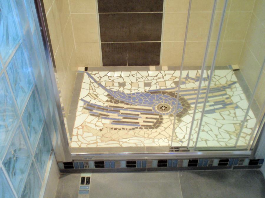 Plato de ducha decorado