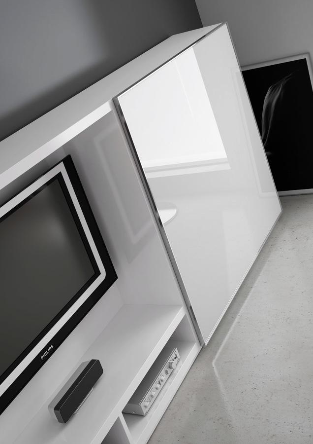 porta corredera, perfil alumini cromat, vidre blanc òptic