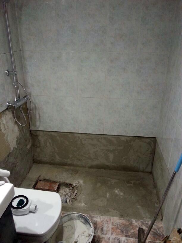 preparación para colocación plato de ducha