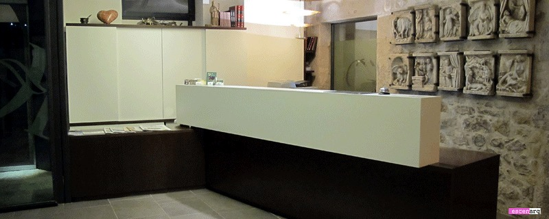 Projecte, disseny i realització de la recepció i llocs de treball Hotel Llegendes de Girona****