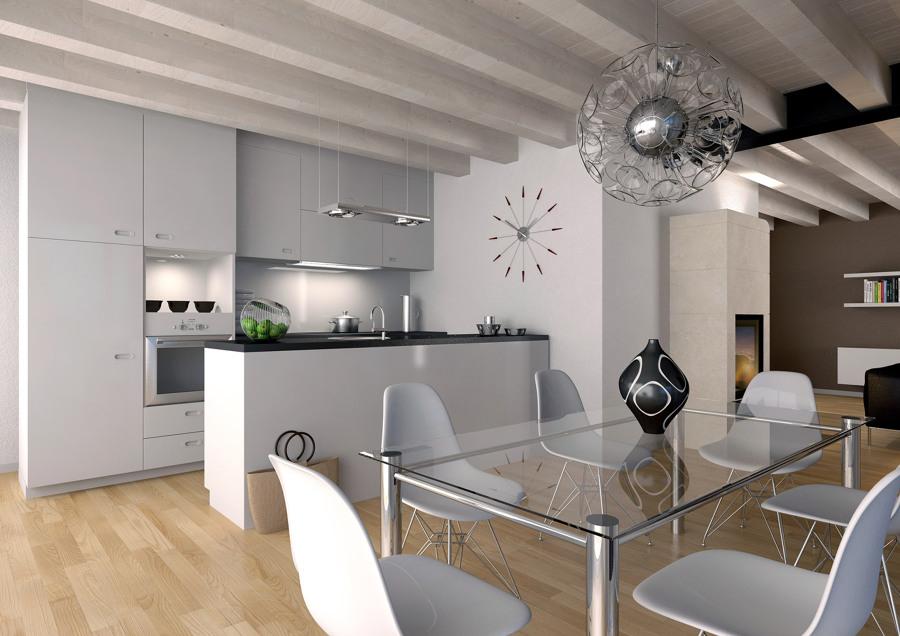 Foto proyecto interiorismo 3d de cocina comedor moderna for Cocina comedor modernos fotos