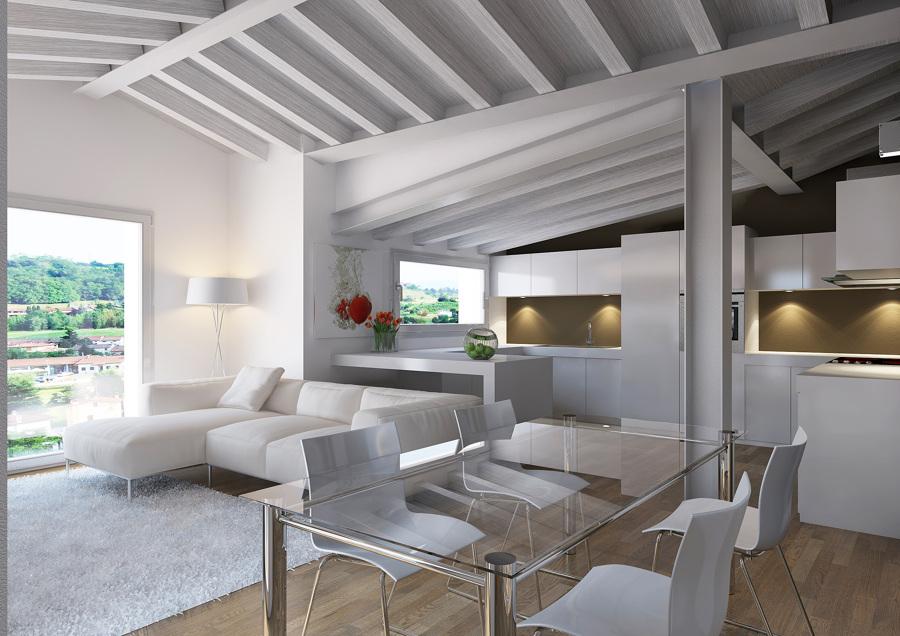 Foto proyecto interiorismo 3d de sal n moderno buhardilla - Interiorismo de salones ...