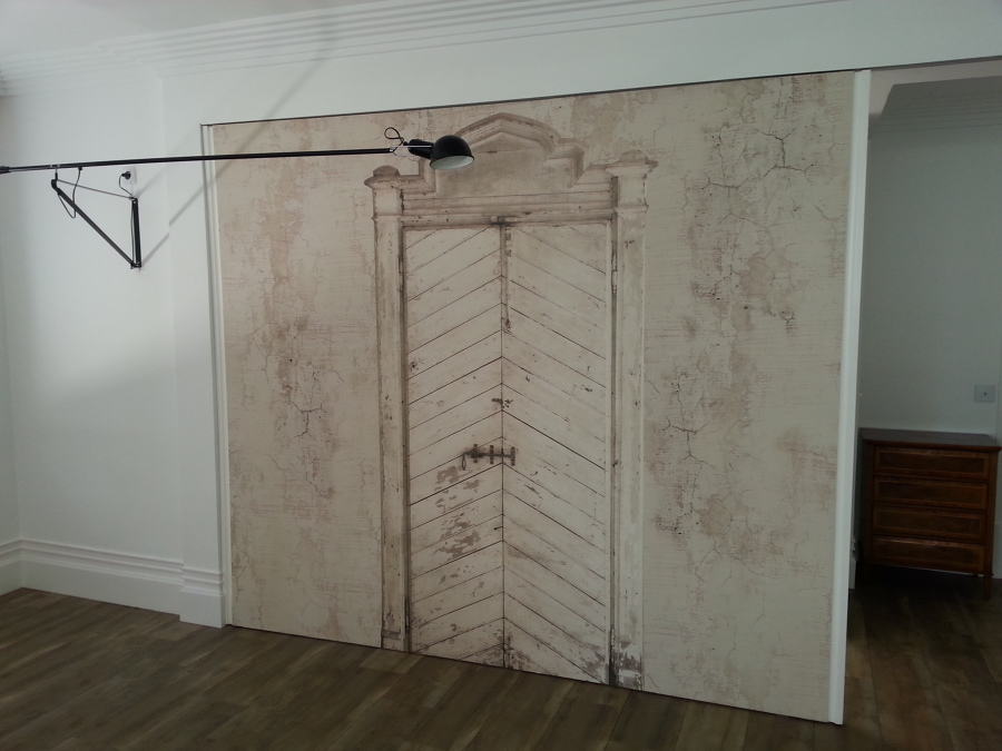 Puerta corredera para separacion de espacios