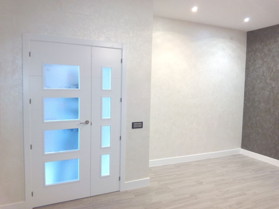 Foto puerta doble vidriera lacada de carpinteria hijos de - Puertas hasta el techo ...