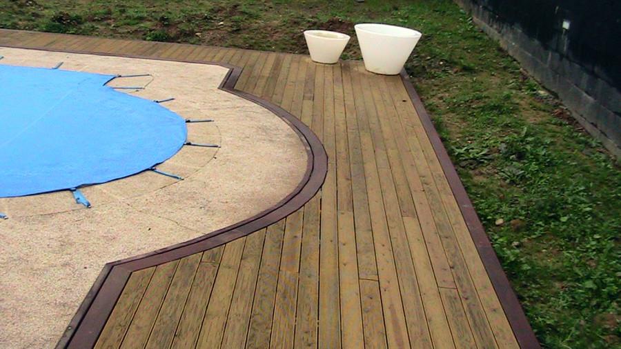 recubrimiento y forrado de piscina con madera