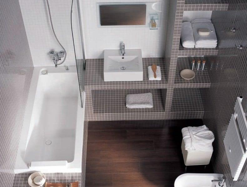 Foto reforma ba o con estanterias de obra de romar for Estanterias ducha bano