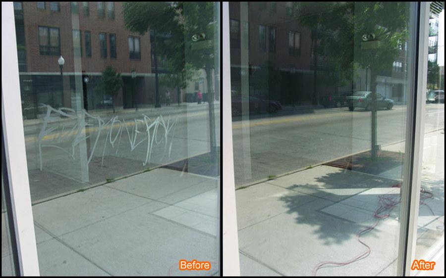Reparación de cristales con graffiti de acido
