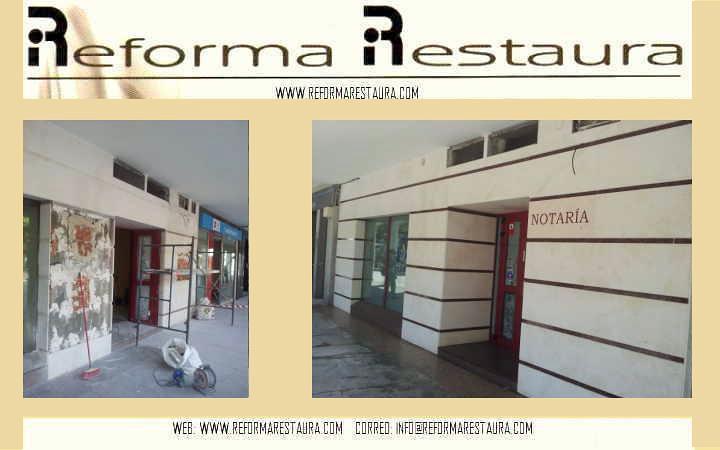 restauración y modificación de fachada en piedra natural