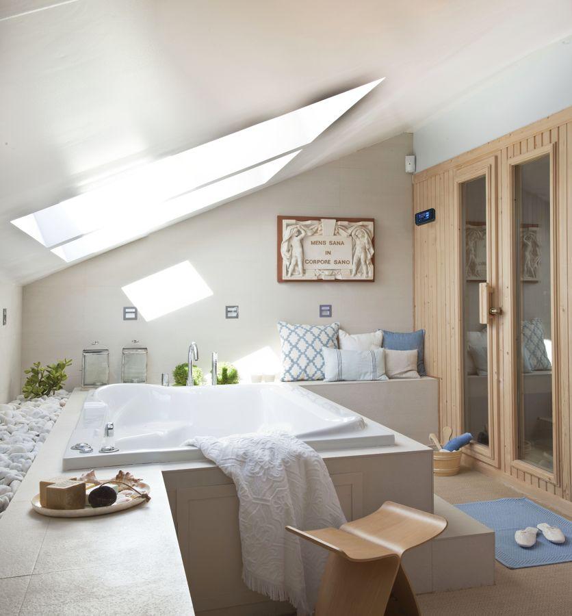 Sauna de interior en lavabo