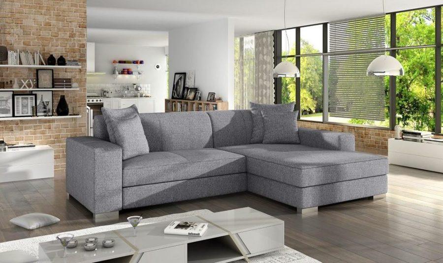 Sofá chaise longue cama tapizado en tela gris claro – Maldives. Esquina derecha