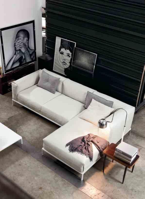 Sofa Piel con Chaise Longe