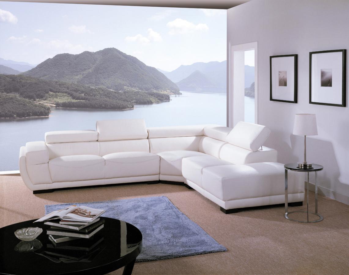 Foto sofa rinconera en pel blanca de mimo 140243 for Sofas de piel en barcelona