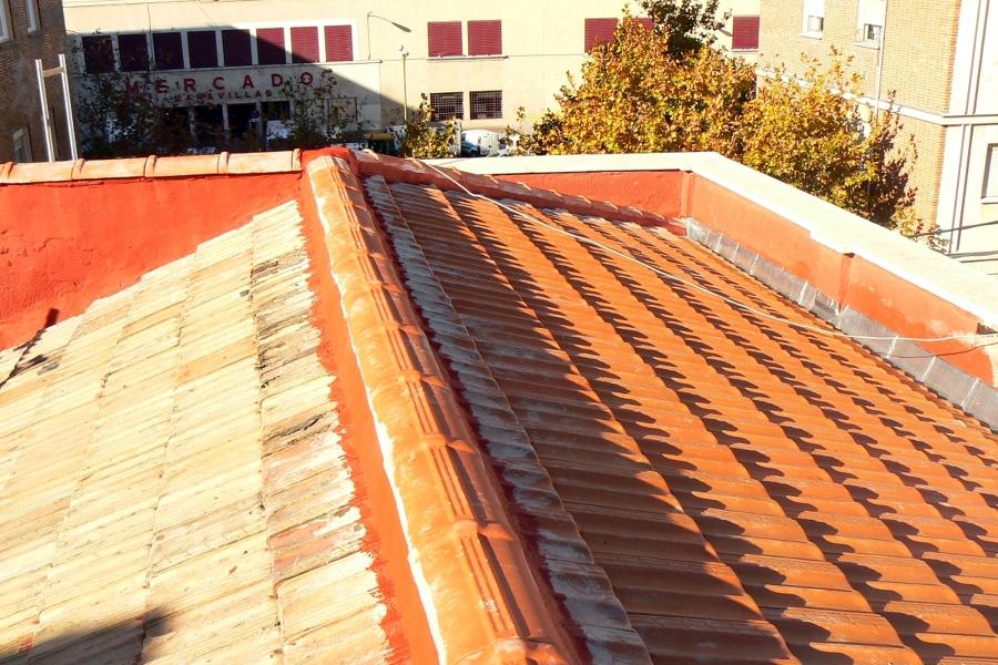 Foto sustituci n de cubierta inclinada con estructura de - Estructura de madera para cubierta ...