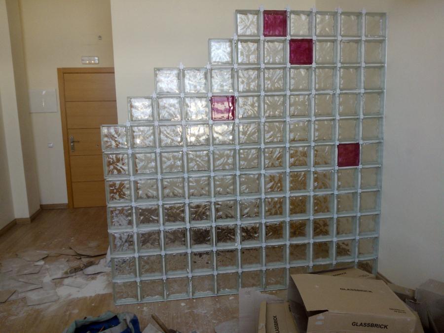 Foto tabique de vidrio en separaci n en oficina de - Tabique de vidrio ...