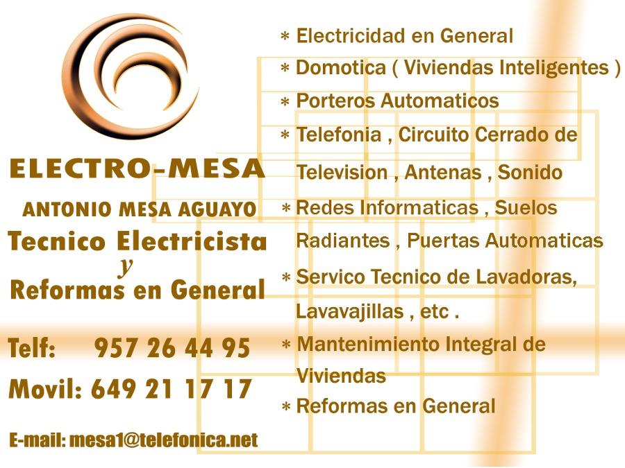Foto tarjeta de visita de electricista mesa 215628 - Electricistas en castellon ...