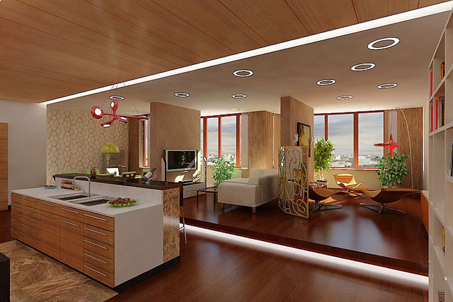 salones con cocina integrada simple te dejo una imagen de