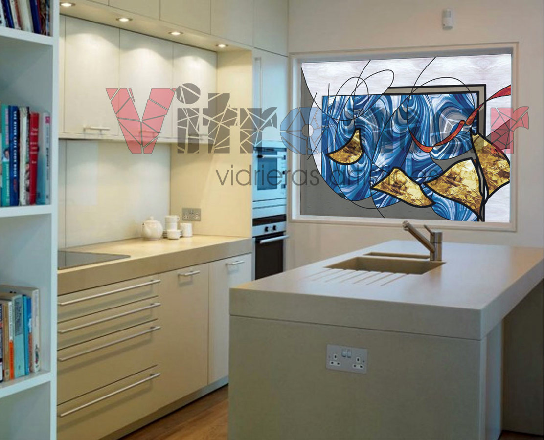 Foto vidriera abstracta cocina azul de vitromar 224777 - Vidrieras modernas ...