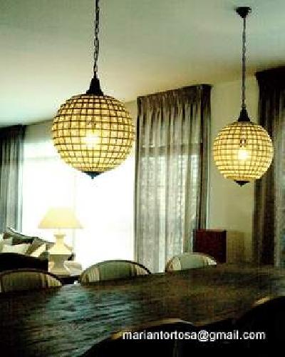 Vista lámparas comedor y cortinas