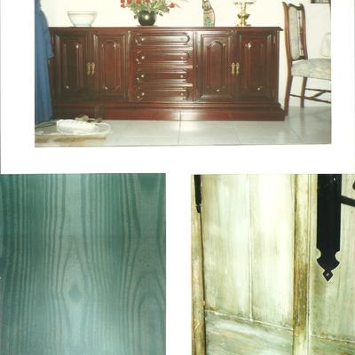 Barnizado tinte caoba, imitación madera, envejecido de maderas nuevas