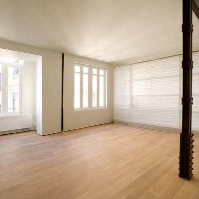 Loft con habitación traslúcida en calle Viriato, Madrid. Vista desde el salón