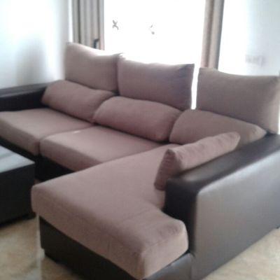 sofa tapizado combinado piel sintetica y tejido