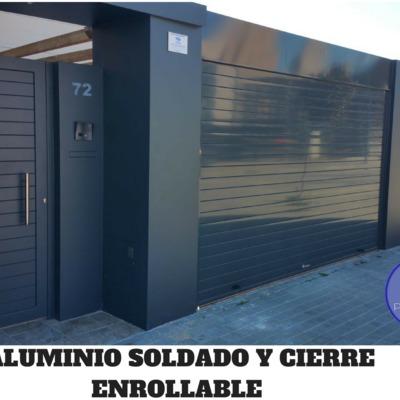 FACHADA COMPLETA EN ALUMINIO SOLDADO Y CIERRE ENROLLABLE