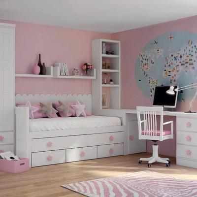 Dormitorio blanco rosa