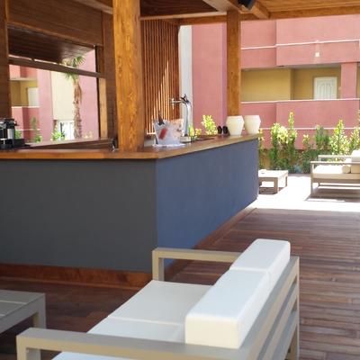 JARDINES HOTEL LA CIGÜEÑA, LA ANTILLA (HUELVA). KIOSKO BAR.