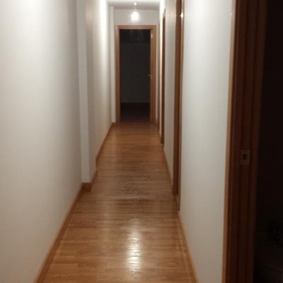 Pasillo con paredes lisas y suelo de tarima