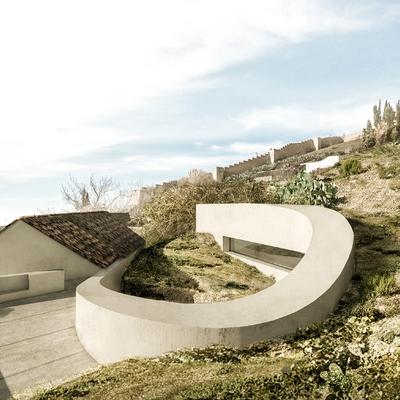 Casa para una palmera, Sacromonte (Granada). Cubierta ajardinada y vistas a la muralla medieval