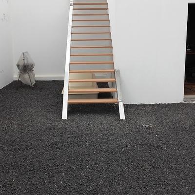Construccion escalera acero inox madera