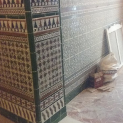 Mocheta terminada con recuperación de azulejos