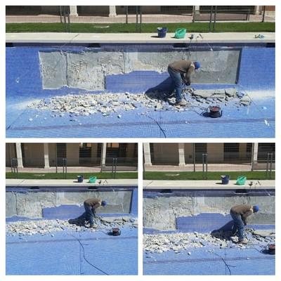Saneado de filtraciones en piscina y impermehabilizado de la misma