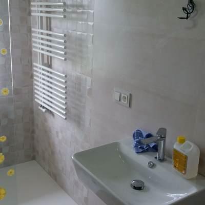 Reforma de baño, alicatado, colocación de sanitarios y radiador.
