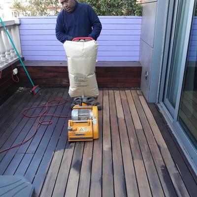 Rebajado y pulido de tarimas de madera de terraza