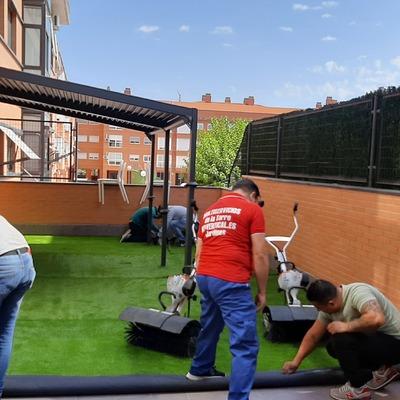 Césped artificial y jardín vertical