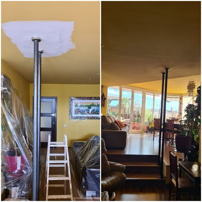 reparación techo y pintura de accesorio en hierro